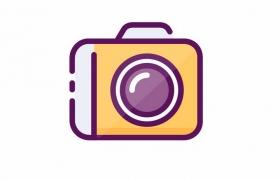 MBE风格线条双色相机图标png图片免抠ai矢量素材