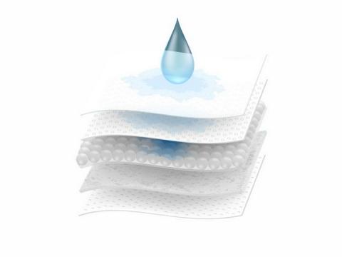 显微镜下卫生巾尿布床垫海绵纤维编织物五层吸水透风效果png图片免抠矢量素材