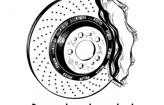 手绘涂鸦风格简笔画汽车刹车系统图片免扣素材