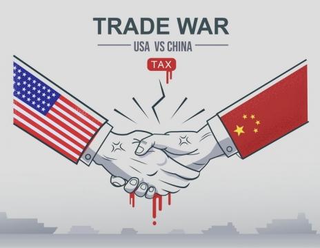 抽象中美竞争中国VS美国配图图片免抠矢量图素材