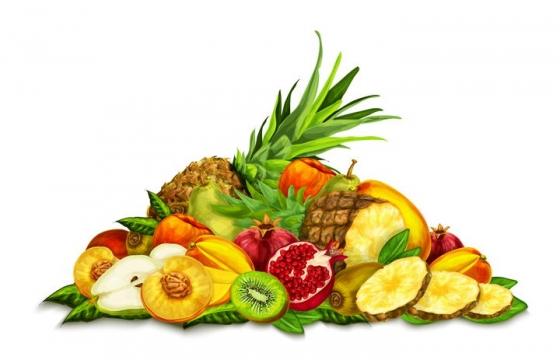 桃子猕猴桃石榴菠萝等一堆美味水果拼盘图片免抠素材