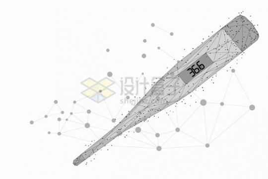 圆点和线条组成的电子体温计医疗用品png图片素材