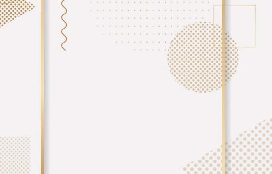 孟菲斯风格的竖版金色图案文本框边框图片免抠素材