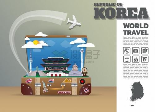 复古旅行箱中的韩国旅游景点插画png图片免抠矢量素材