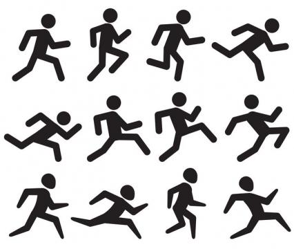 12款正在连续奔跑的小黑人火柴人免扣图片素材
