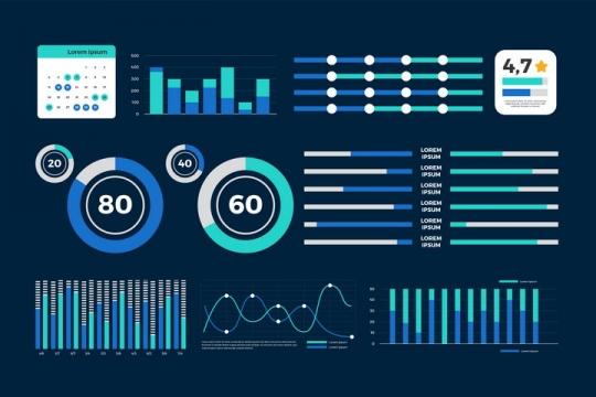 蓝色柱形图环形比例图曲线图漂亮的PPT数据图表png图片免抠矢量素材