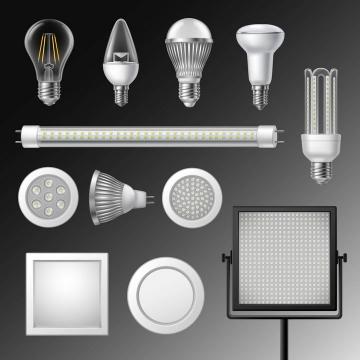 12款LED灯管闪光灯电灯图片免抠矢量素材