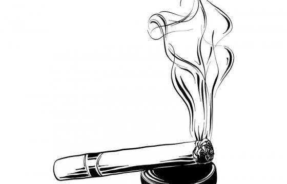 手绘涂鸦风格简笔画香烟抽烟烟头图片免扣素材