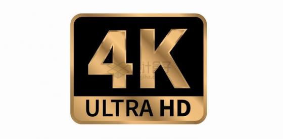 金色4K分辨率超高清视频技术图标png图片免抠矢量素材