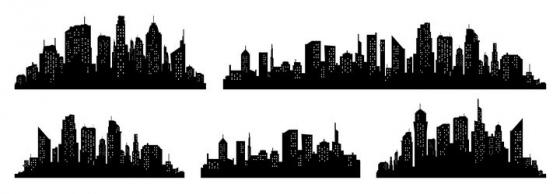 5款白色窗口风格城市建筑天际线剪影图片免抠矢量图素材