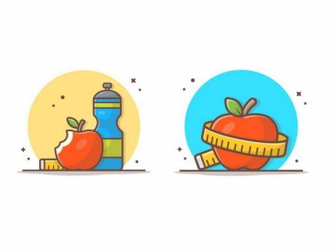 MBE风格减肥咬了一口的红苹果和卷尺上的水果png图片免抠矢量素材