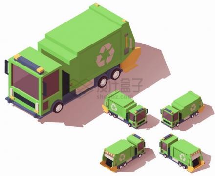 绿色的垃圾车4个不同的角度png图片素材