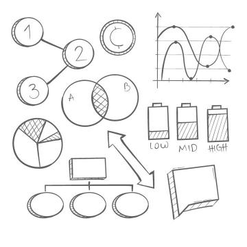 手绘黑色线条风格的曲线图饼形图等PPT元素图片免抠素材
