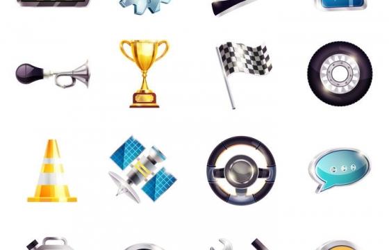 16款拟物风格赛车图片免抠素材
