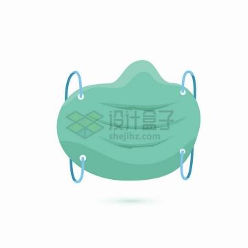 绿色一次性医用口罩扁平化png图片免抠矢量素材
