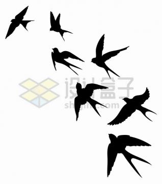 各种动作的燕子动物剪影png图片素材