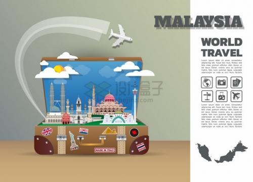 复古旅行箱中的马来西亚旅游景点插画png图片免抠矢量素材