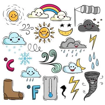 彩色手绘线条龙卷风彩虹太阳闪电高温低温多云等天气简笔画图片免抠矢量素材