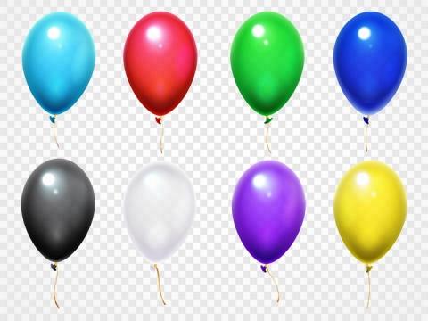 8款彩色高光的气球图片免抠矢量素材