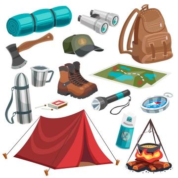 卡通漫画风格帐篷背包双筒望远镜水壶斧子地图篝火等户外运动装备图片免抠矢量素材
