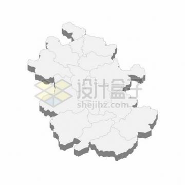 安徽省地图3D立体阴影行政划分地图626170png矢量图片素材