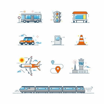 10款MBE风格公交车红绿灯候车亭出租车加油站飞机火车等交通工具png图片免抠矢量素材
