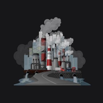 冒着浓烟的工厂排出了污水环境污染全球变暖主题png图片免抠矢量素材