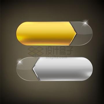 金属银色光泽半透明玻璃圆角按钮png图片素材