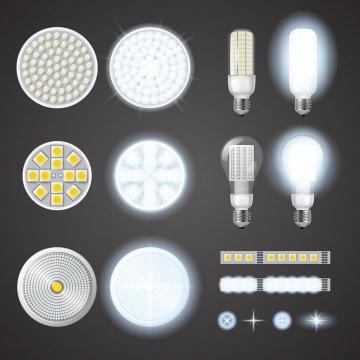 12款白色LED灯管电灯泡发光效果图片免抠矢量素材