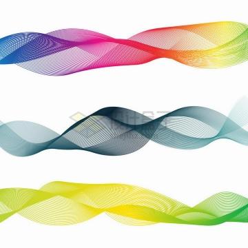 3款彩色渐变色线条曲线装饰png图片免抠矢量素材