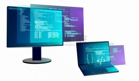 笔记本电脑和显示器上的蓝紫色显示层png图片免抠矢量素材