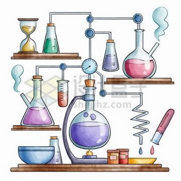 复杂的化学实验仪器组合彩绘插画png图片免抠矢量素材