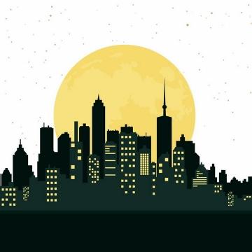 亮着黄色窗户的城市建筑天际线剪影和背后的黄色月亮png图片免抠矢量素材