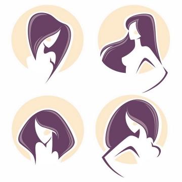 4款紫色头发的美女美容美发logo设计方案png图片免抠矢量素材