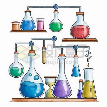两套化学实验仪器组合彩绘插画png图片免抠矢量素材