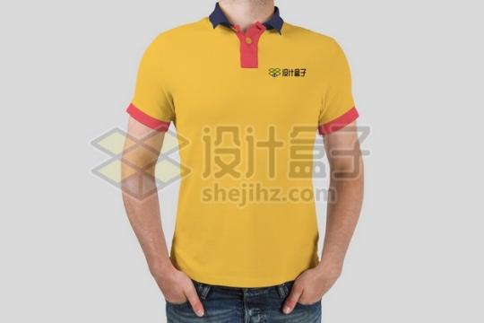 黄色T恤POLO衫上的标志logo样机119155psd/png图片素材
