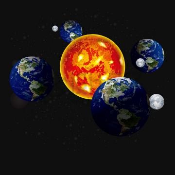 拟真地球季节变化太阳位置示意图png图片免抠矢量素材