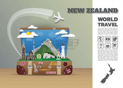 复古旅行箱中的新西兰旅游景点插画png图片免抠矢量素材