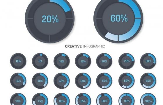 21个不同数字的蓝色百分比圆环显示按钮免抠图片素材