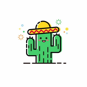 MBE风格戴着墨西哥草帽的卡通仙人掌png图片免抠ai矢量素材