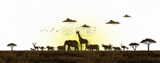 非洲大草原上夕阳西下时野生动物剪影png图片素材