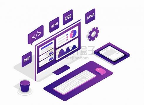 2.5D风格电脑显示器显示的编程语言和键盘等png图片免抠矢量素材
