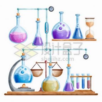 有烧瓶锥形瓶试管酒精灯的化学实验仪器组合彩绘插画png图片免抠矢量素材