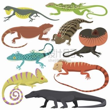 各种卡通蜥蜴壁虎巨蜥等爬行动物png图片免抠矢量素材