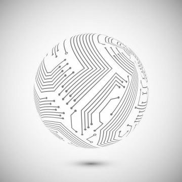 创意电路板线条组成的圆球图案免扣图片素材