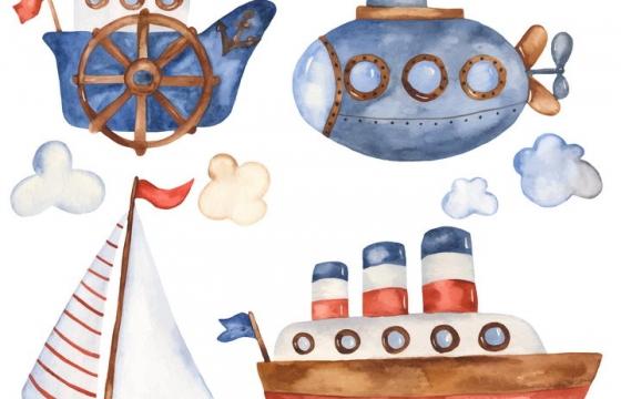 肌理插画风格卡通潜水艇风帆轮船图片免抠素材