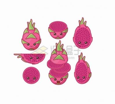 卡通火龙果自带各种表情水果png图片免抠矢量素材