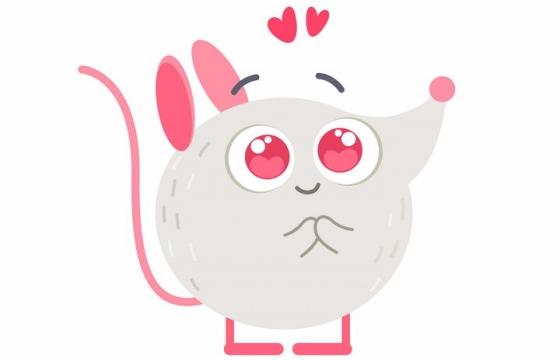 可爱等待爱情的卡通大头老鼠图片免抠矢量图素材