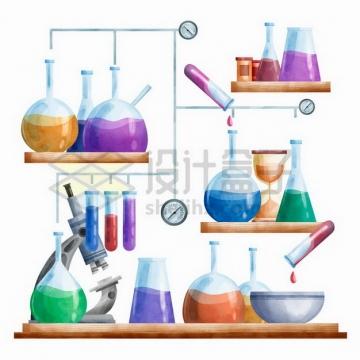 有烧瓶显微镜试管酒精灯的化学实验仪器组合彩绘插画png图片免抠矢量素材