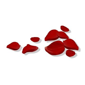 手绘风格红色玫瑰花花瓣装饰免抠素材